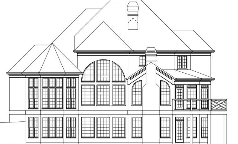 Greek Revival Traditional House Plan 72097 Rear Elevation