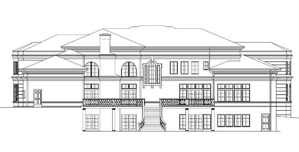 Colonial, Greek Revival Plan with 6177 Sq. Ft., 4 Bedrooms, 5 Bathrooms, 3 Car Garage Rear Elevation