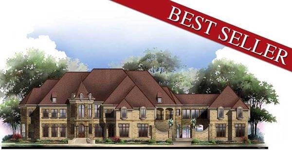 European, Greek Revival House Plan 72128 with 6 Beds, 9 Baths, 5 Car Garage Elevation