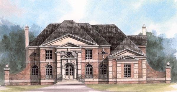 European, Greek Revival House Plan 72132 with 4 Beds, 4 Baths, 3 Car Garage Elevation