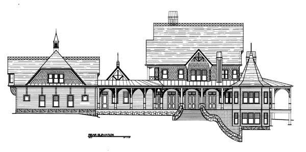 Traditional Rear Elevation of Plan 72135