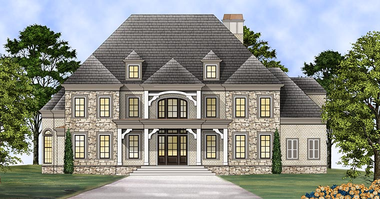 Greek Revival House Plan 72137 with 4 Beds, 6 Baths, 3 Car Garage Elevation