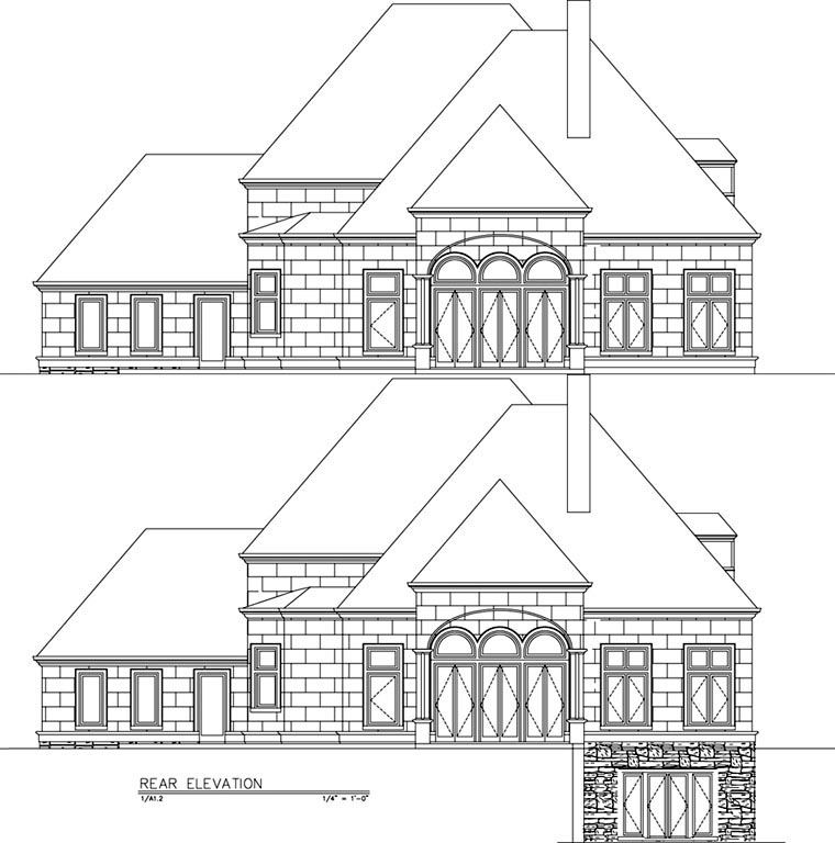 European Greek Revival House Plan 72153 Rear Elevation