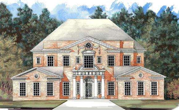 Colonial, Greek Revival, Plantation House Plan 72158 with 4 Beds, 4 Baths, 4 Car Garage Elevation