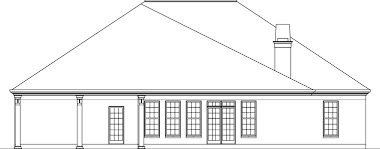 European House Plan 72162 with 3 Beds, 3 Baths, 2 Car Garage Rear Elevation