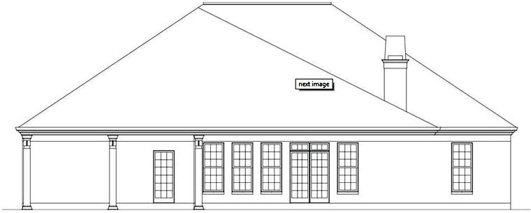 European House Plan 72164 Rear Elevation
