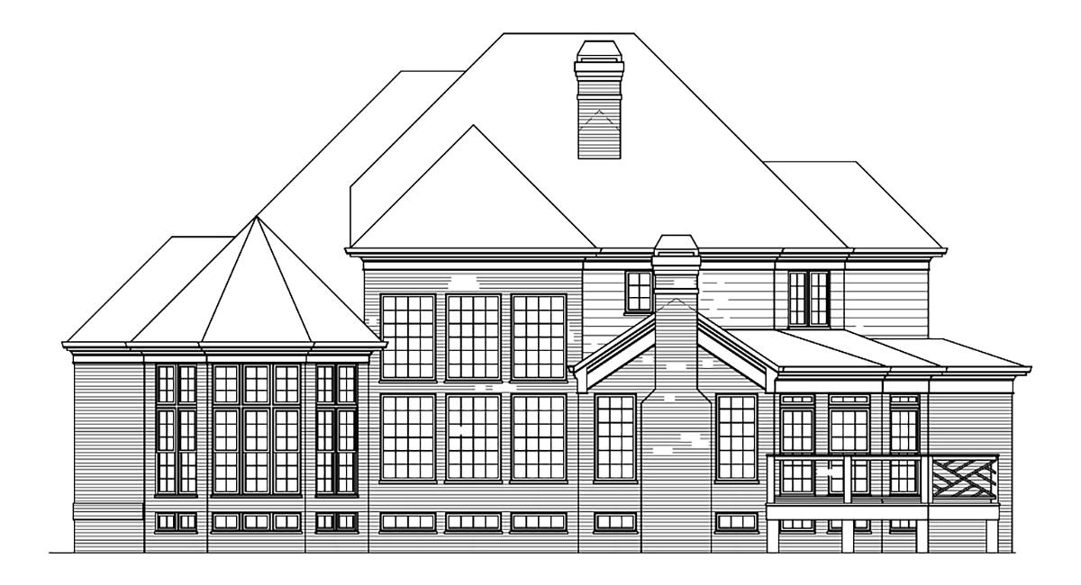 Colonial European Greek Revival House Plan 72205 Rear Elevation