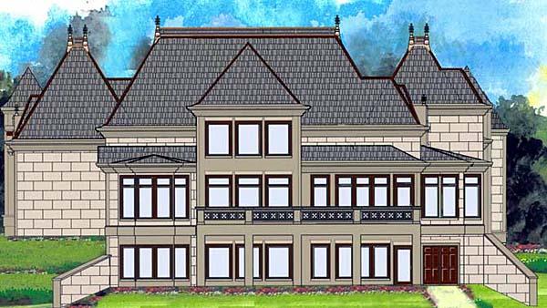 European, Greek Revival House Plan 72212 with 4 Beds, 5 Baths, 3 Car Garage Rear Elevation