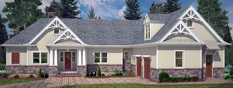 Cottage Craftsman Traditional House Plan 72220 Elevation