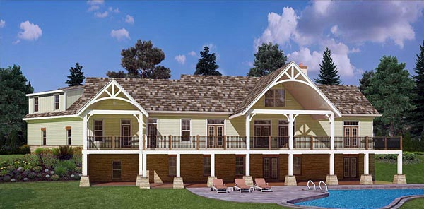 Craftsman European Traditional House Plan 72221 Rear Elevation