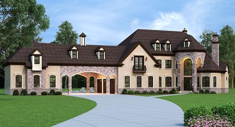 european french country house plan 72226 elevation - French Country House Plans With Porte Cochere