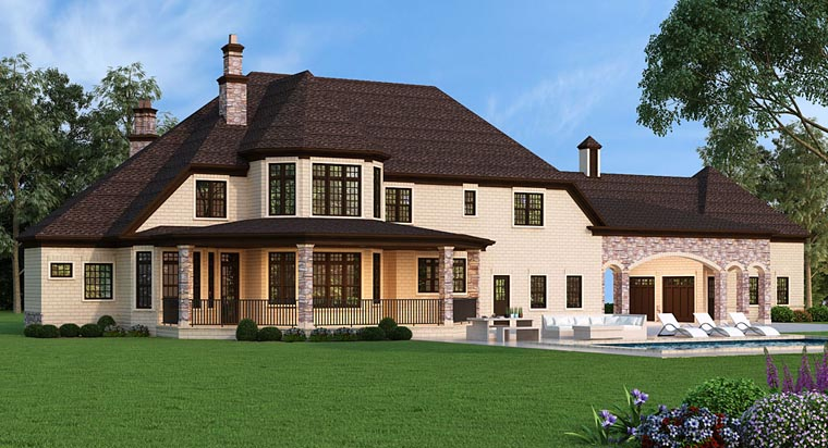 European French Country Rear Elevation of Plan 72226