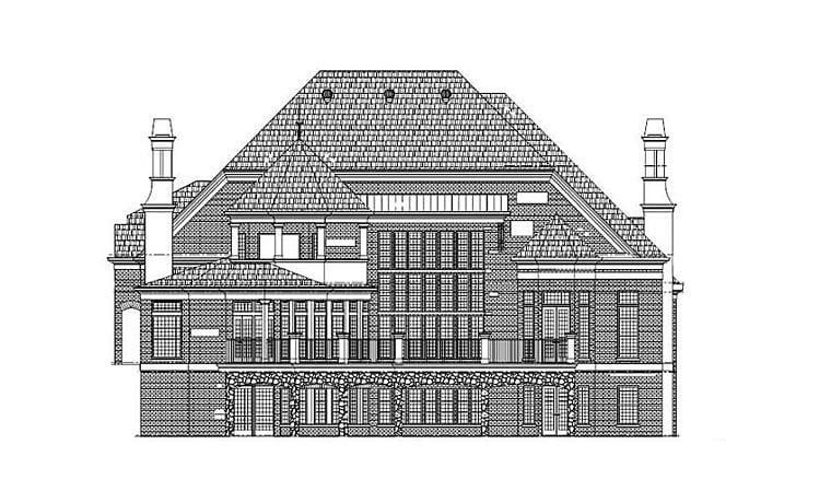 European House Plan 72228 Rear Elevation
