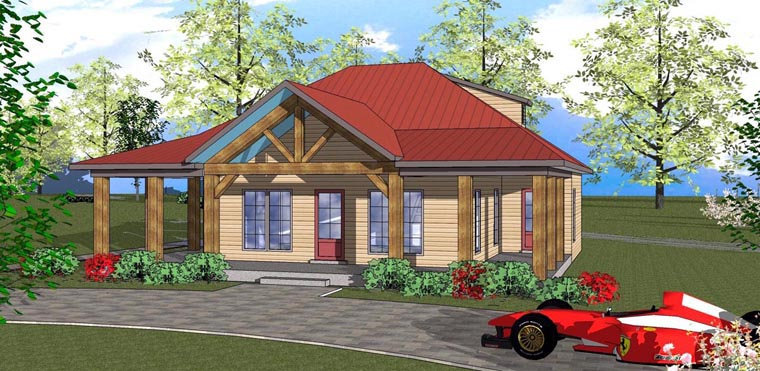 Cottage, Florida, Southern House Plan 72317 with 2 Beds, 2 Baths Elevation