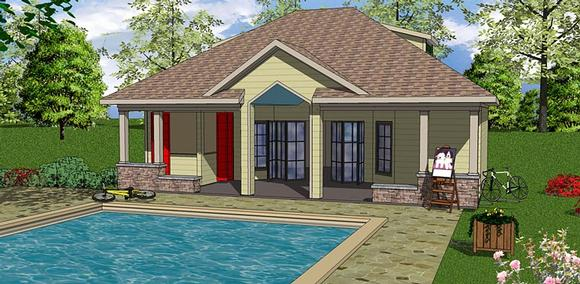 Contemporary, Cottage House Plan 72376 with 1 Beds, 1 Baths Elevation