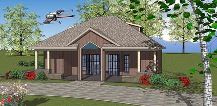 Contemporary Cottage Elevation of Plan 72378