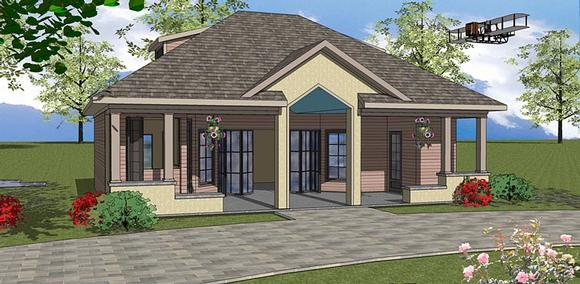 Contemporary, Cottage House Plan 72380 with 1 Beds, 2 Baths Elevation