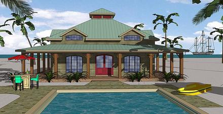 Country Florida Southern Elevation of Plan 72383