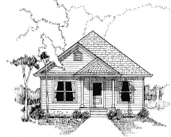 Bungalow House Plan 72706 with 3 Beds, 1 Baths Elevation