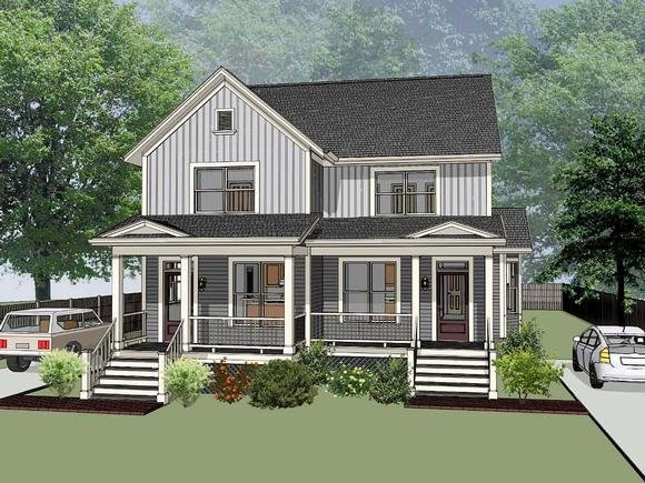 Bungalow Multi-Family Plan 72778 with 6 Beds, 4 Baths Elevation