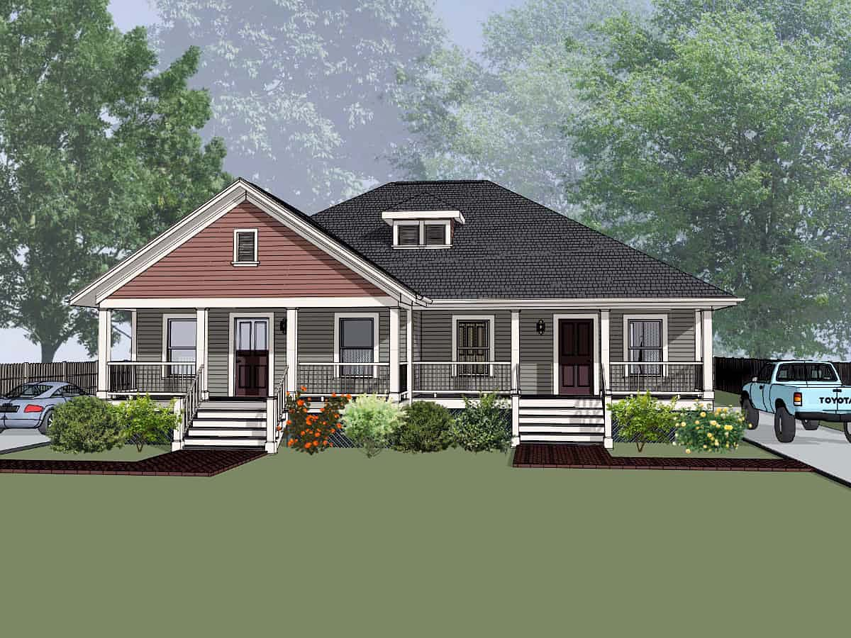 Bungalow Multi-Family Plan 72782 Elevation