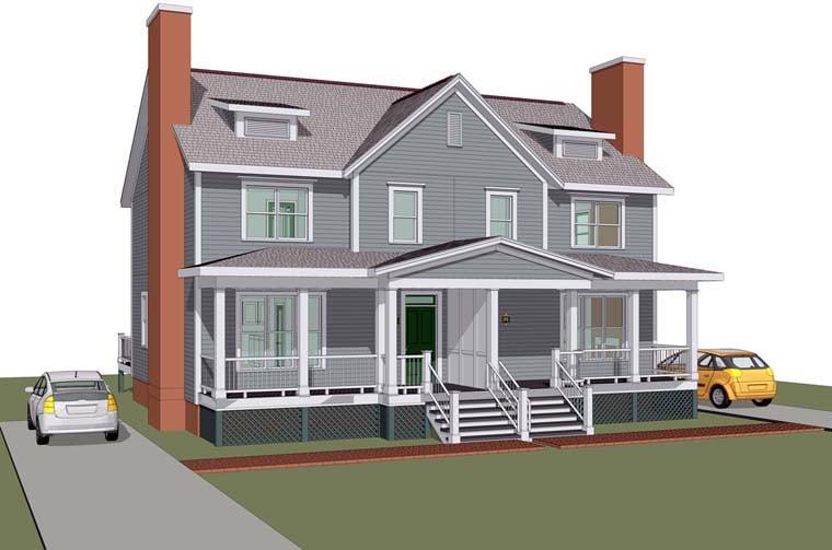 Multi-Family Plan 72787 Elevation