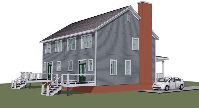 Multi-Family Plan 72787 Rear Elevation