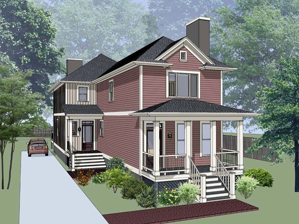 Multi family plan 72792 at for Back to back duplex house plans