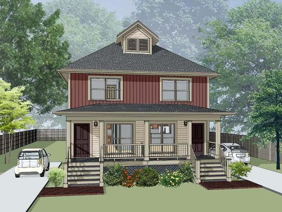 Multi-Family Plan 72793 with 4 Beds, 4 Baths Elevation
