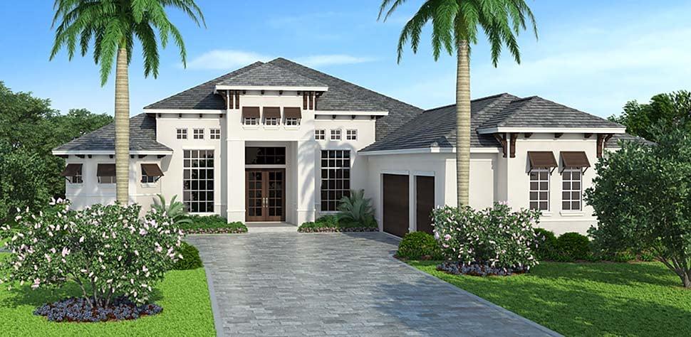Coastal, Florida, Mediterranean House Plan 72806 with 3 Beds, 5 Baths, 3 Car Garage Elevation