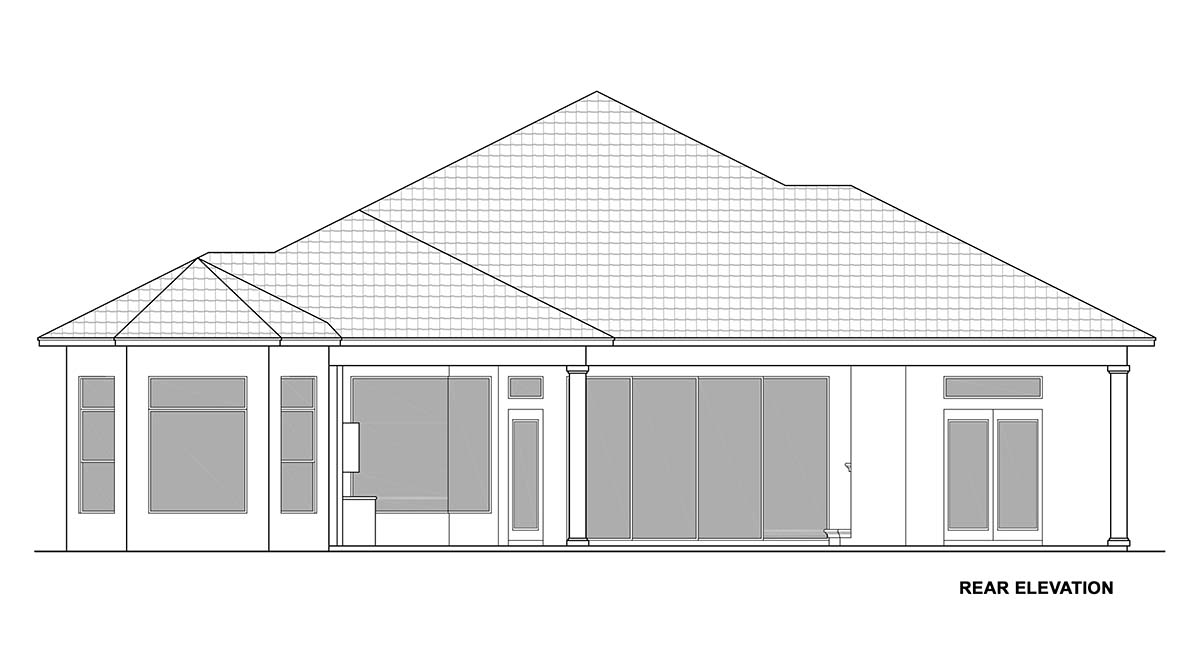 Coastal, Florida, Mediterranean House Plan 72806 with 3 Beds, 5 Baths, 3 Car Garage Rear Elevation