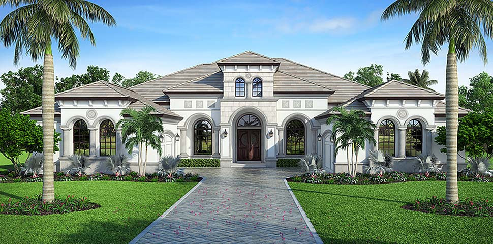 Coastal, Florida, Mediterranean House Plan 72807 with 4 Beds, 5 Baths, 4 Car Garage Elevation