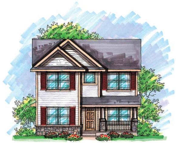 Cottage, Country, Narrow Lot House Plan 72923 with 3 Beds, 3 Baths, 2 Car Garage Elevation
