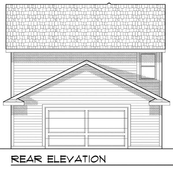Cottage, Country, Narrow Lot House Plan 72923 with 3 Beds, 3 Baths, 2 Car Garage Rear Elevation