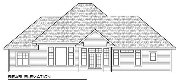 Country Craftsman European Ranch House Plan 72943 Rear Elevation