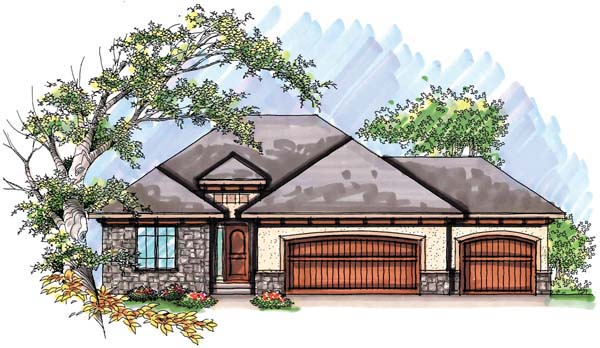 Elevation of Mediterranean   Ranch   House Plan 72944