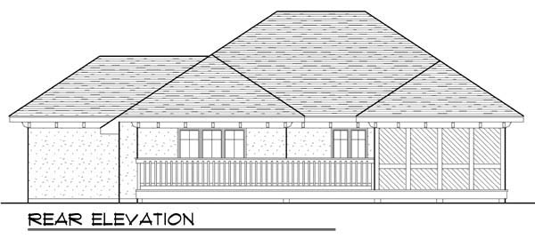 Rear Elevation of Mediterranean   Ranch   House Plan 72944
