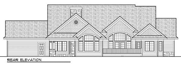 Country Craftsman European Ranch House Plan 72963 Rear Elevation