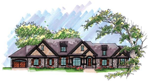 European, One-Story, Ranch House Plan 72968 with 4 Beds, 6 Baths, 4 Car Garage Elevation