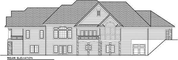 European, One-Story, Ranch House Plan 72968 with 4 Beds, 6 Baths, 4 Car Garage Rear Elevation