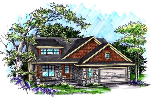 Craftsman House Plan 72991 with 2 Beds, 2 Baths, 2 Car Garage Elevation