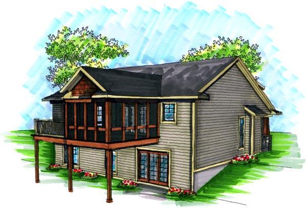 Craftsman House Plan 72991 with 2 Beds, 2 Baths, 2 Car Garage Rear Elevation
