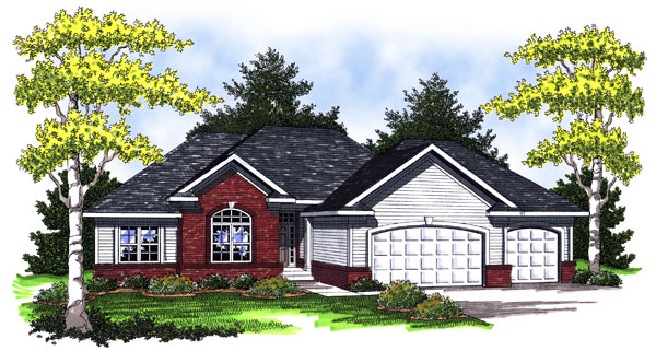 European House Plan 73007 with 3 Beds, 3 Baths, 3 Car Garage Elevation