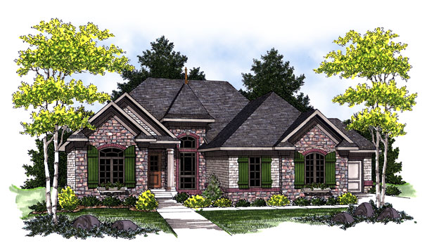 European, One-Story House Plan 73016 with 3 Beds, 2 Baths, 3 Car Garage Elevation