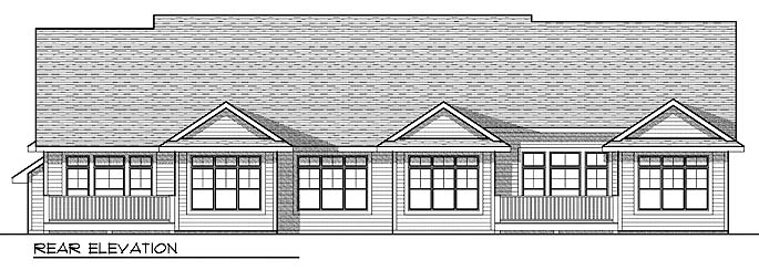 Traditional Multi-Family Plan 73033 with 4 Beds, 4 Baths, 4 Car Garage Rear Elevation