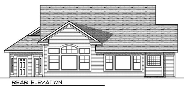 One-Story House Plan 73034 with 3 Beds, 3 Baths, 3 Car Garage Rear Elevation