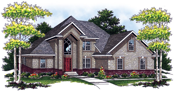 European, Traditional House Plan 73057 with 3 Beds, 3 Baths, 2 Car Garage Elevation