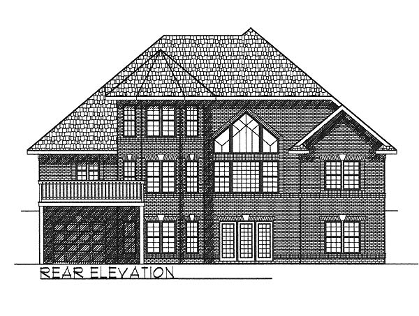European, Traditional House Plan 73057 with 3 Beds, 3 Baths, 2 Car Garage Rear Elevation