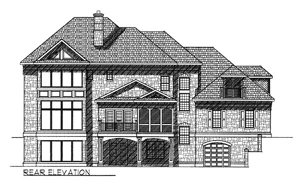 Colonial European House Plan 73060 Rear Elevation