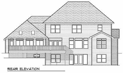 Colonial European House Plan 73063 Rear Elevation